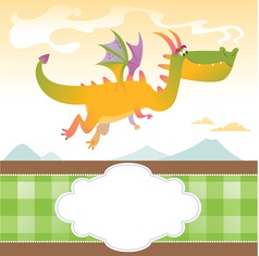 Card with fly dragon and mountains vector