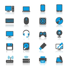 Computer flat with reflection icons vector