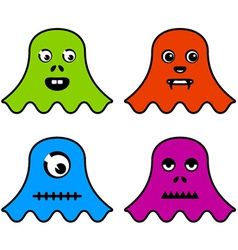 Cute ghost monsters vector