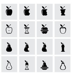 Black apple and pear icon set vector