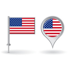 American pin icon and map pointer flag vector