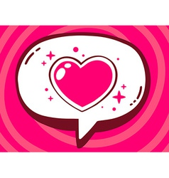 Speech bubble with icon of heart on pink vector