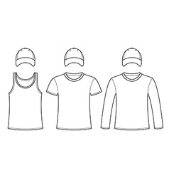 Singlet t-shirt long-sleeved t-shirt and cap vector