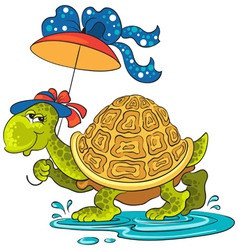 Turtle with an umbrella vector