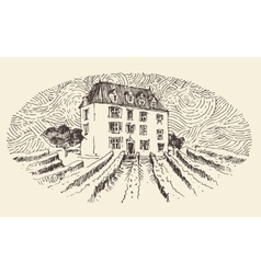 French province wine label menu vintage engraved vector