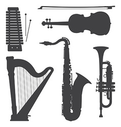Monochrome music instruments silhouettes vector