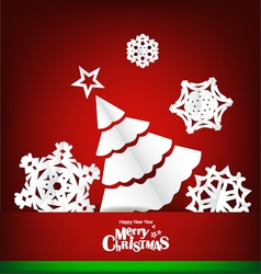 Merry christmas greeting card with xmas decoration vector