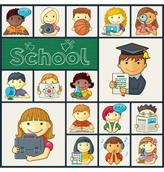 Set of school icons with kids vector