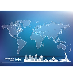 Map pin with montreal skyline vector