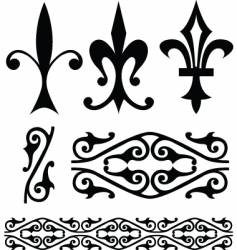 Fleur-de-lys symbols and ornamental patterns vector
