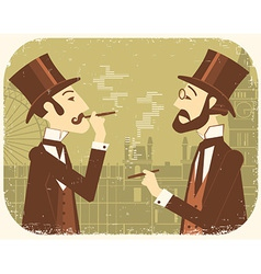 Gentlemen in bowler hatsvintage london background vector