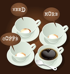 Hot coffee with speech bubble vector