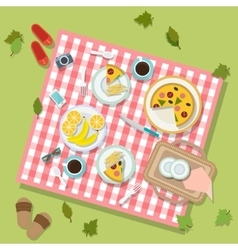 Picnic in park with dishes and cutlery vector