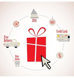 Present with e-commerce icon around online vector