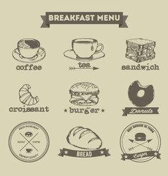 Breakfast menu hand drawing style vector