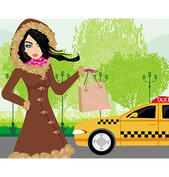Elegant woman waiting for a taxi vector