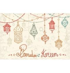 Lantern garland of ramadan kareemdoodle card vector