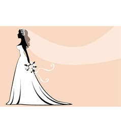 Beautiful silhouette bride vector