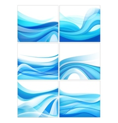 Set of abstract blue wavy water stream vector