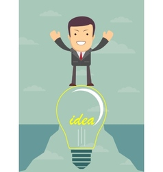 Businessman on a bulb cross an abyss vector
