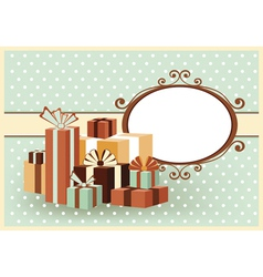 Retro color card with gifts vector