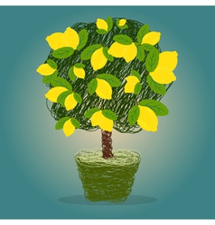 Lemon tree in a pot drawn in scribble style vector