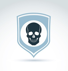 A human skull on a shield dead head abst vector