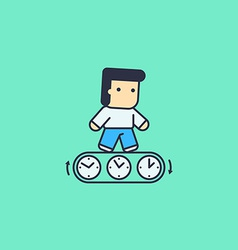 Man running with the time vector