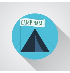 Tourist tent sign icon camping symbol travel vector