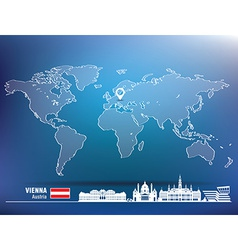 Map pin with vienna skyline vector