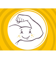 Strong man hand with icon of smile on ye vector