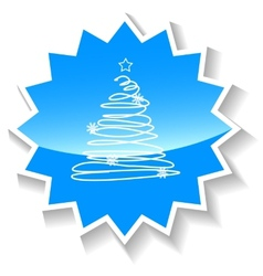 Fir-tree blue icon vector