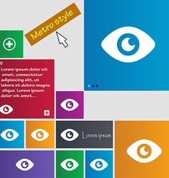 Eye publish content icon sign metro style buttons vector