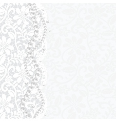 Lace background and pearl necklace vector