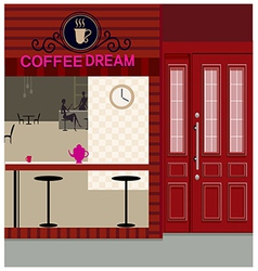 Cafe shopfront scene vector