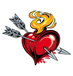 Red heart with two arrows vector