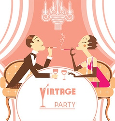 Retro party with couple lovers vector