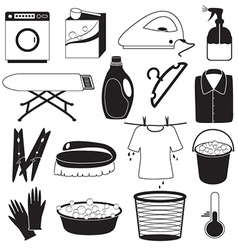 Laundry and cleaning icons vector