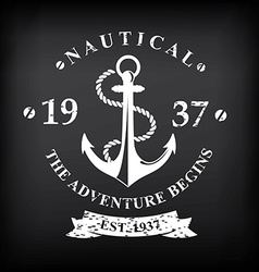 T-shirt print design nautical marine badge design vector