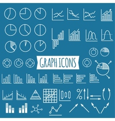 Business charts set of thin line graph icons vector