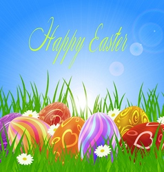 Easter eggs on green grass vector