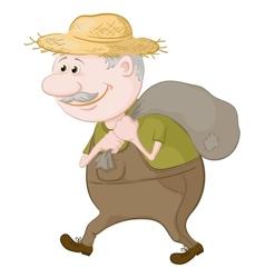 Man carries a sack vector
