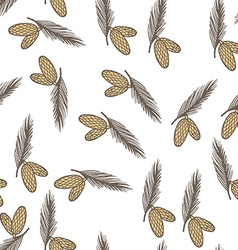 Fir pine cone seamless pattern vector