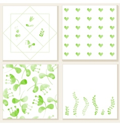 Cards with watercolor floral elements vector