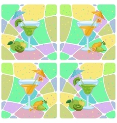 Seamless glasses with cocktail and fruits vector