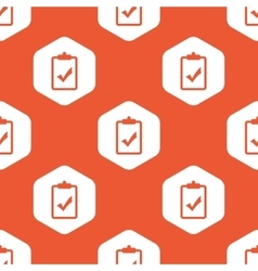 Orange hexagon clipboard yes pattern vector