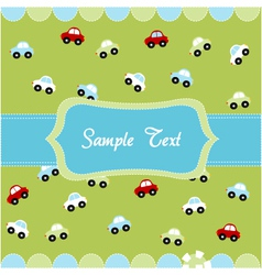 Cute seamless pattern with little cars  baby card vector