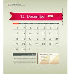 December 2013 calendar vector