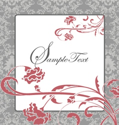 Pink and gray damask card vector