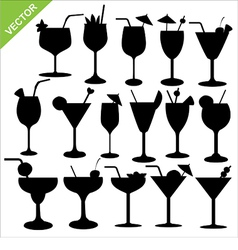 Cocktail silhouettes vector